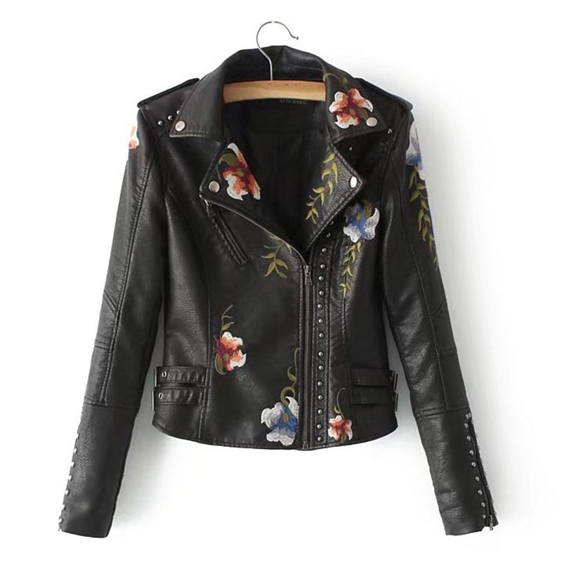 Women New Autumn Winter Floral Print Embroidery Washed Jacket Coats Ladies Soft Rivet PU   Leather   Short Motorcycle Outwear O457