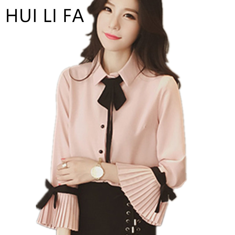 2017 Korean Fashion Women Bow Collar Blouses Spring Long Flare Sleeve Vintage Chiffon Blouse