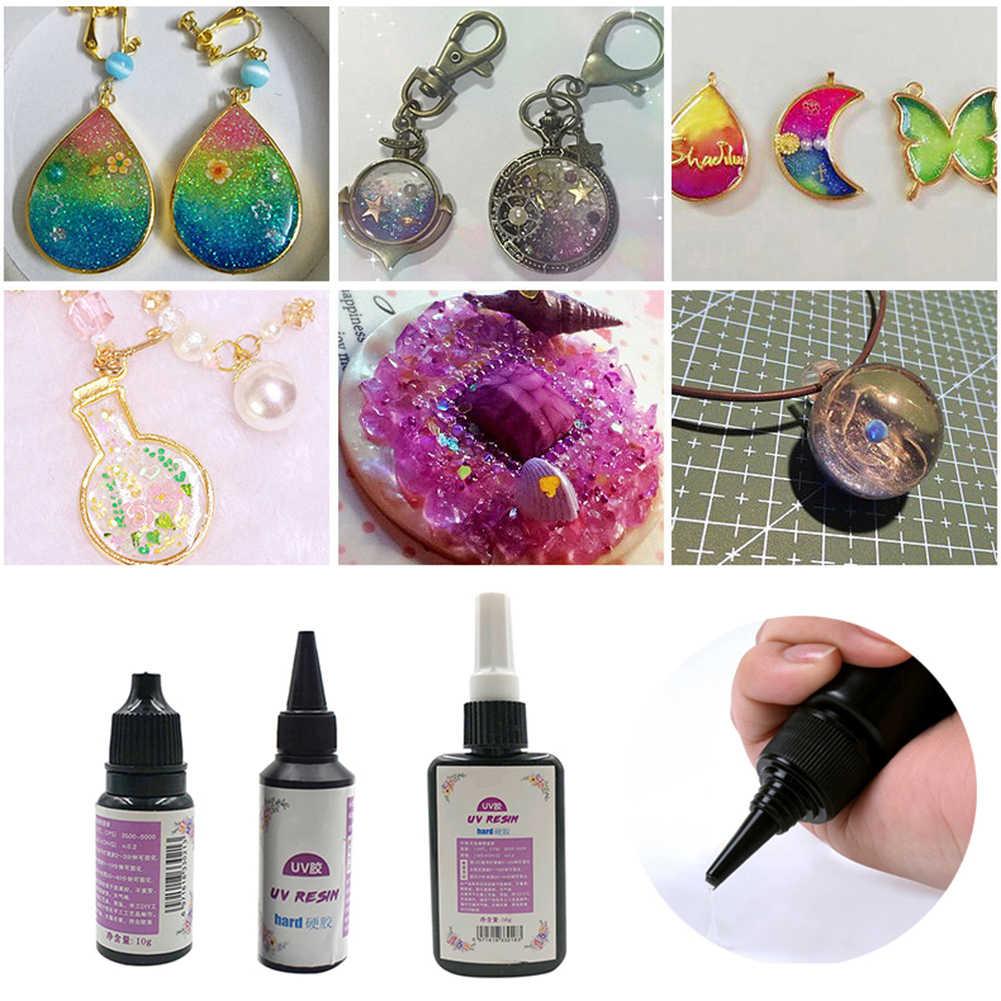 10/20/25/50/60/100g UV résine dure colle ultraviolette LED Transparent outils de bricolage pour la mode élégant bijoux Vintage Chic 2020 nouveau