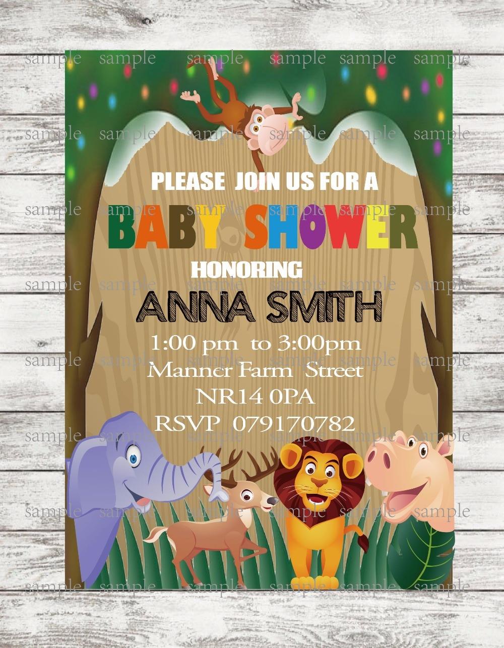 20 pcs/lot Jungle Safari Baby Shower Invitations Woodland Birthday ...