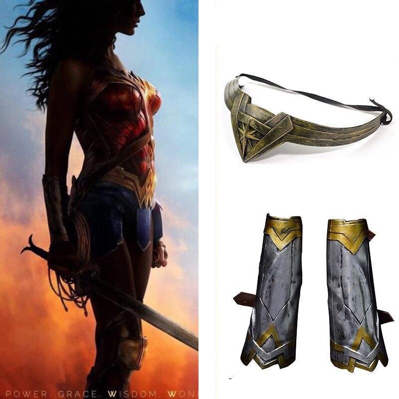 Диана наручей Головные уборы набор оружия супергероя Wonder Woman COS аксессуар Хэллоуин