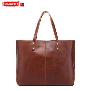 HANSOMFY Retro Genuine leather Women handbags new fashion female shoulder bag casual large capacity leather ladies handbag
