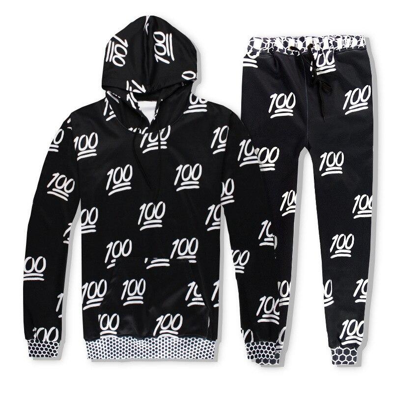 100 Black and White Print Hoodies 3d QQ Expression 100 Points Emoji Sweatsrhitrs Jogger Pants Men/Women Fashion Tracksuits Sets