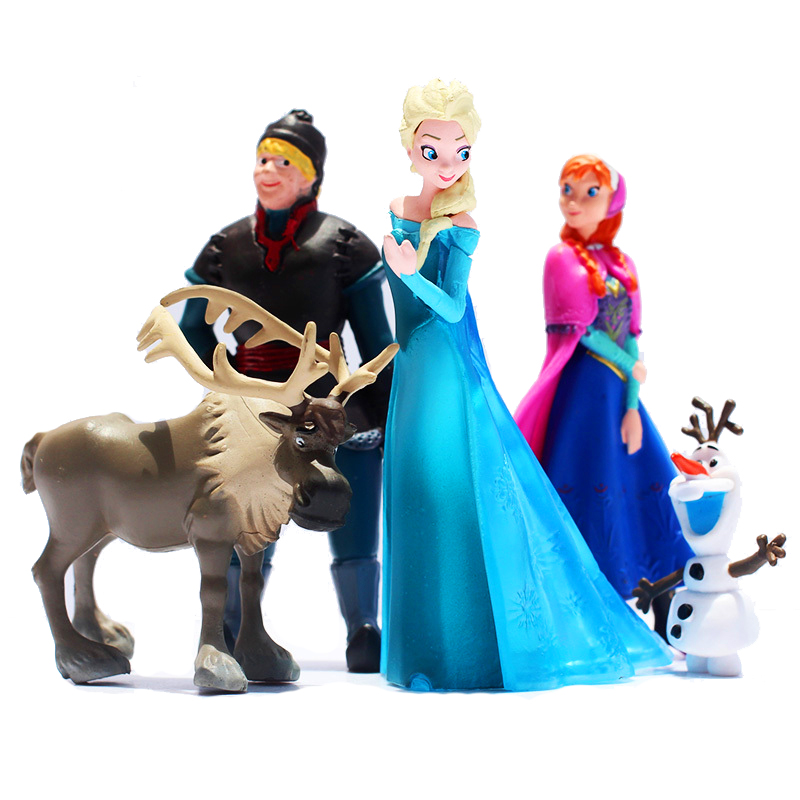 5pcs Lot Disney Frozen Princess Anna Elsa Action Figures