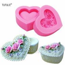 Gadgets 3d цветок розы сердце ювелирные изделия boxmouldscandlesoapflexible