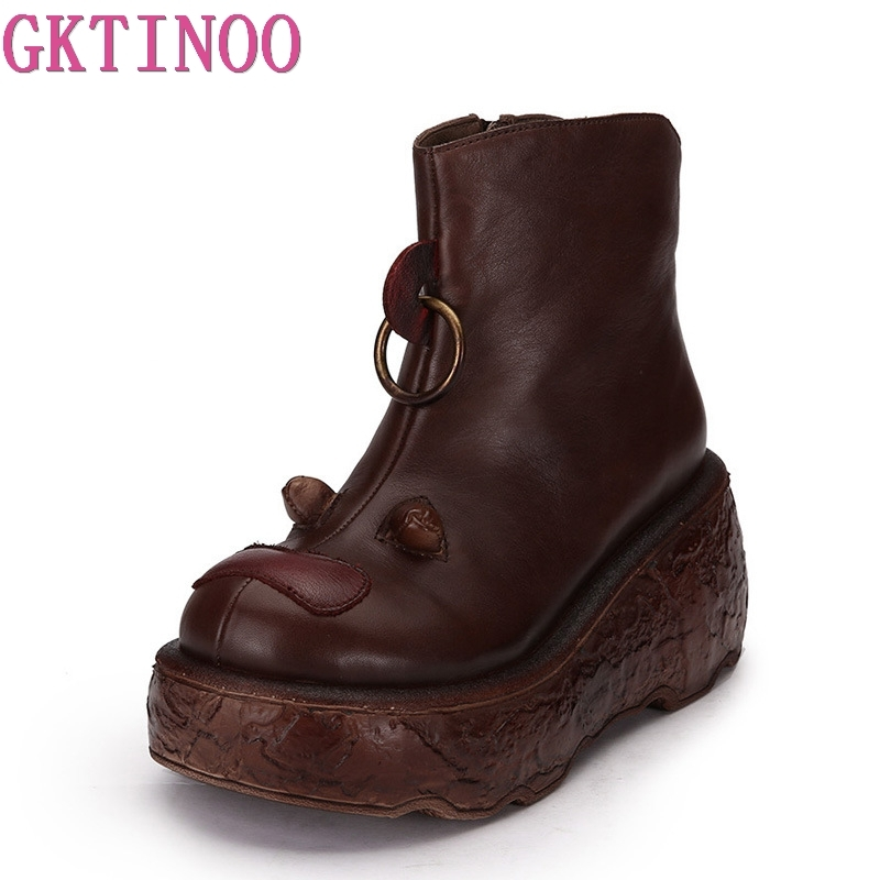 GKTINOO 2018 Fashion Platform Boots Women Retro Autumn Genuine Leather Ankle Boots for Women Soft Martin Shoes Ladies Wedges