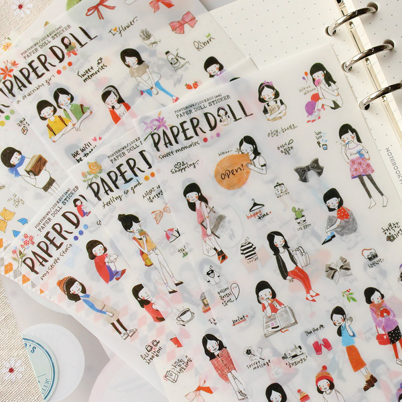 6 Sheets/lot Cute Pencil Drawing Girl Mini Pvc Transparent Korean Stickers Papers Flakes Kids Decorative For Cards Stationery