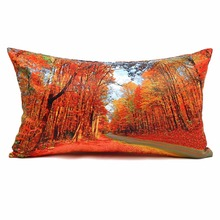 Red Maple Forest Cushion Cover for Sofa Home Decorative Throw Pillow Case Car Seat Two Sides Print Rectangle Cushion Covers
