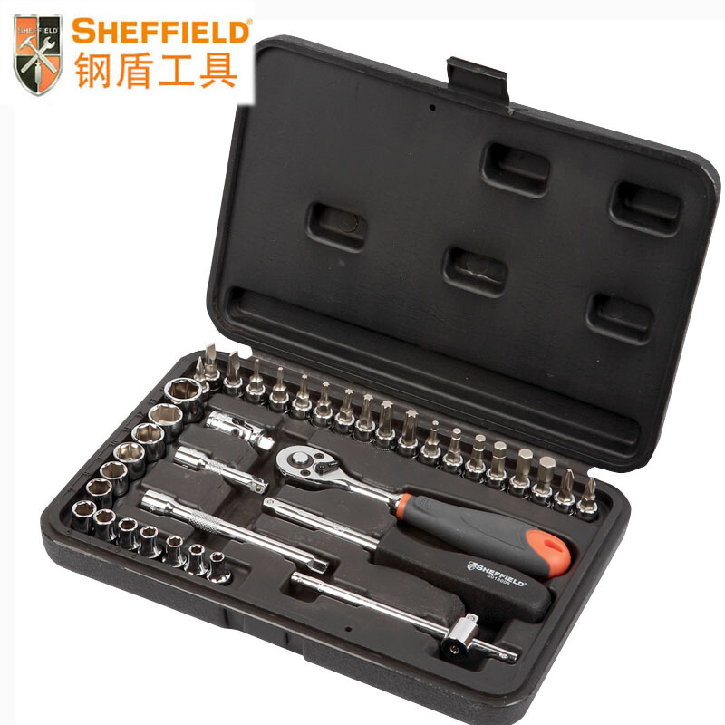 SHEFFIELD 38 pcs Tool Set Kit 6.3mm drive standard 6pt Socket drive Ratchet wrenches, wrench adaptor, hardware tools set box 46pcs 1 4 inch high quality socket set car repair tool ratchet set torque wrench combination bit a set of keys chrome vanadium