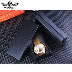 Image 5 - Zwycięzca złote męskie zegarki automatyczny biznesowy zegarek na rękę szkielet analogowy siatkowy pasek stalowy własny wiatr mechaniczny Reloj Hombre Saat