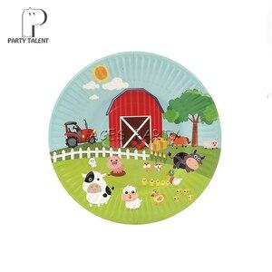 Image 5 - 62 peças para 12 crianças animais de fazenda porco vaca temática de aniversário festa de suplementos conjunto de talheres, placa + copo + canudo + bandeira + etc da mesa