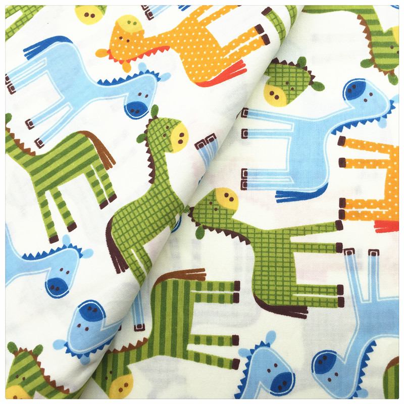 Cartoon horse patchwork printed cotton fabric for tissue for Horse fabric for kids