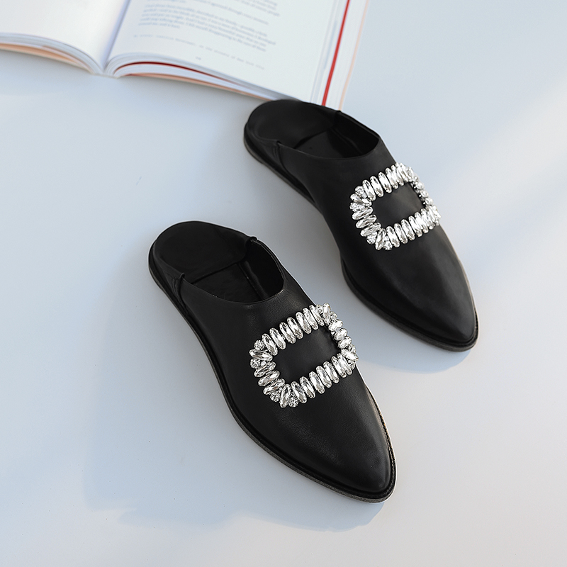 white Femmes Cuir Plus 3 Véritable Boucle Mules Bout Chaussures Pointu Loisirs Strass Appartements yellow Ballerines En Couleur Diapositives Black De Taille Slip La on xqpngrq8Y