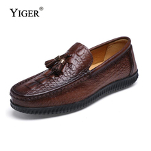 YIGER New Man Boat shoes Breathable Slip-on Men Loafers Genuine Leather Driving Fashion Lazy Free shipping 0136