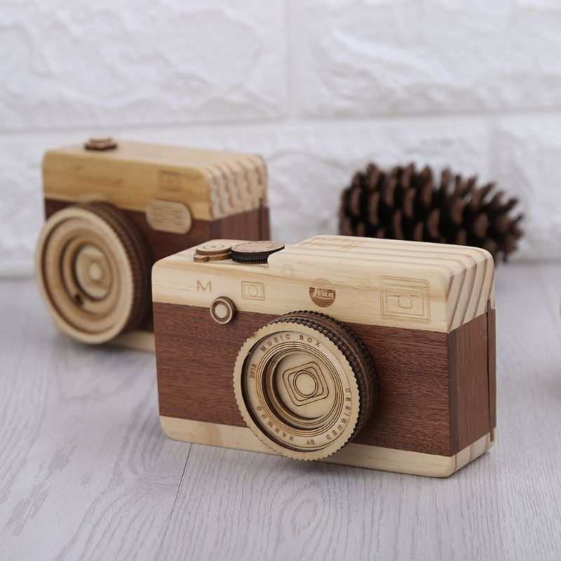 Wooden Music Camera Retro Design Classical Birthday Home Decoration Melody Camera Toy