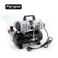 Fengda Oil Free Mini Air Compressor AS 48A Air Pump Body Paint Tattoo Airbrush Spray Gun