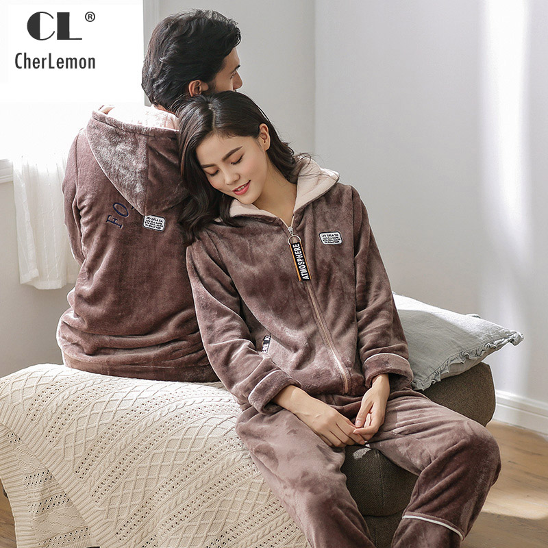 CherLemon Couple Winter Long Sleeved Coral Velvet Zipper Up Pajama Suit Warm Thickened Men and Women Fashion Hooded Loungewear