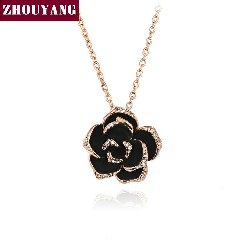 ZHOUYANG Top Quality ZYN021 Big Black Rose Rose Gold Color Pendant Necklace Jewelry Austrian Crystal Wholesale угловой элемент adex neri angulo exterior rodapie clasico negro 15x15