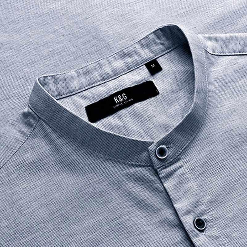 Мужская повсед.притален.хлопковая рубашка KUEGOU, повседневная приталенная хлопковая рубашка на пуговицах, с длинными рукавами, модель 02135, осень 2019