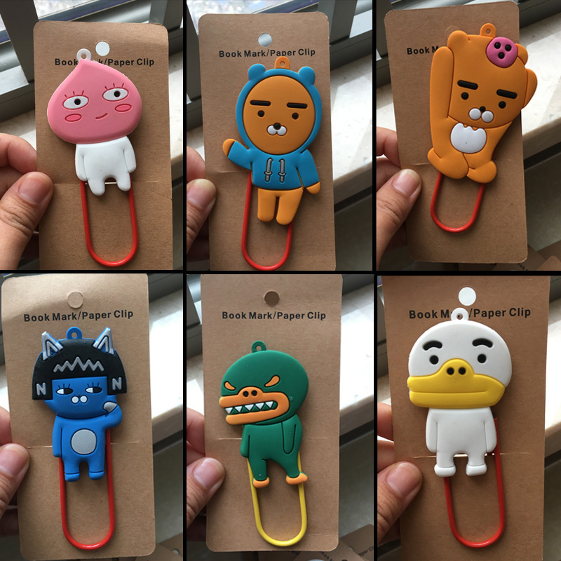 IVYYE 10pcs/lot Kakao Apeach Ryan Anime Bag Parts Accessories Cartoon Bags Paper Clip Book Children Gifts Bookmarks Kids New
