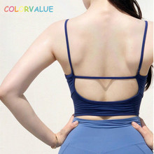 Colorvalue Spaghetti Straps font b Fitness b font Crop Top Yoga Bra Women Padded Dance Workout