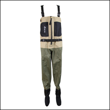 Neygu chest fishing wader with metal zipper, breathable waders with neoprene socks for wader shoes