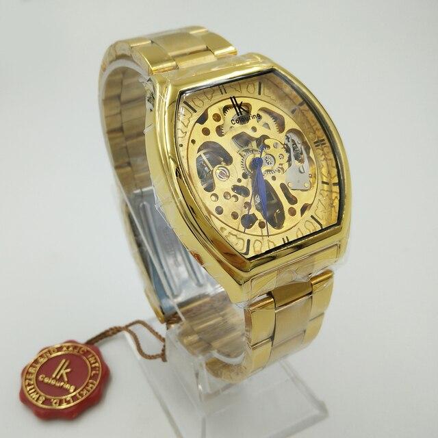 db47be4b9ef IK Colouring Relógios Esqueleto Relógio Mecânico Relógio de Aço Inoxidável  Dos Homens Top De Luxo Da