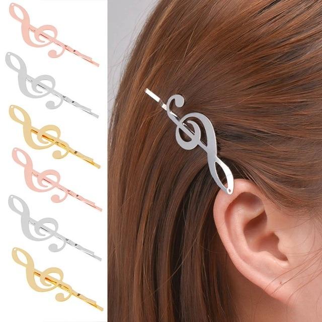 1 יחידות אופנה בסיס הגדרות פיליגרן מוסיקלי הערה רפידות שיער קליפ סיכות מלאכות ממצאי זהב צבע אקססורי לשיער
