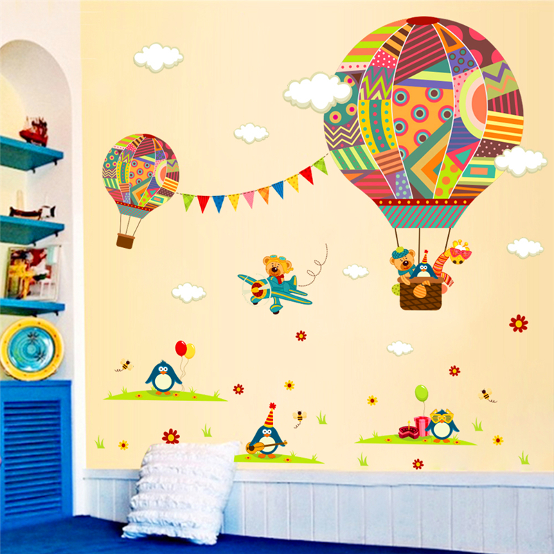 cartoon hot air balloon airplane wall stickers for kids rooms pvc wall art decor penguin bear animals wall decals diy posters image