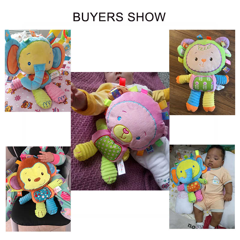 5 estilos Da Criança Do Bebê Mão Sinos Chocalhos Brinquedos Apaziguar Boneca de Pelúcia de Animais Recém-nascidos Meninos Meninas Brinquedo elefante/monkey/ presentes coelho Macio
