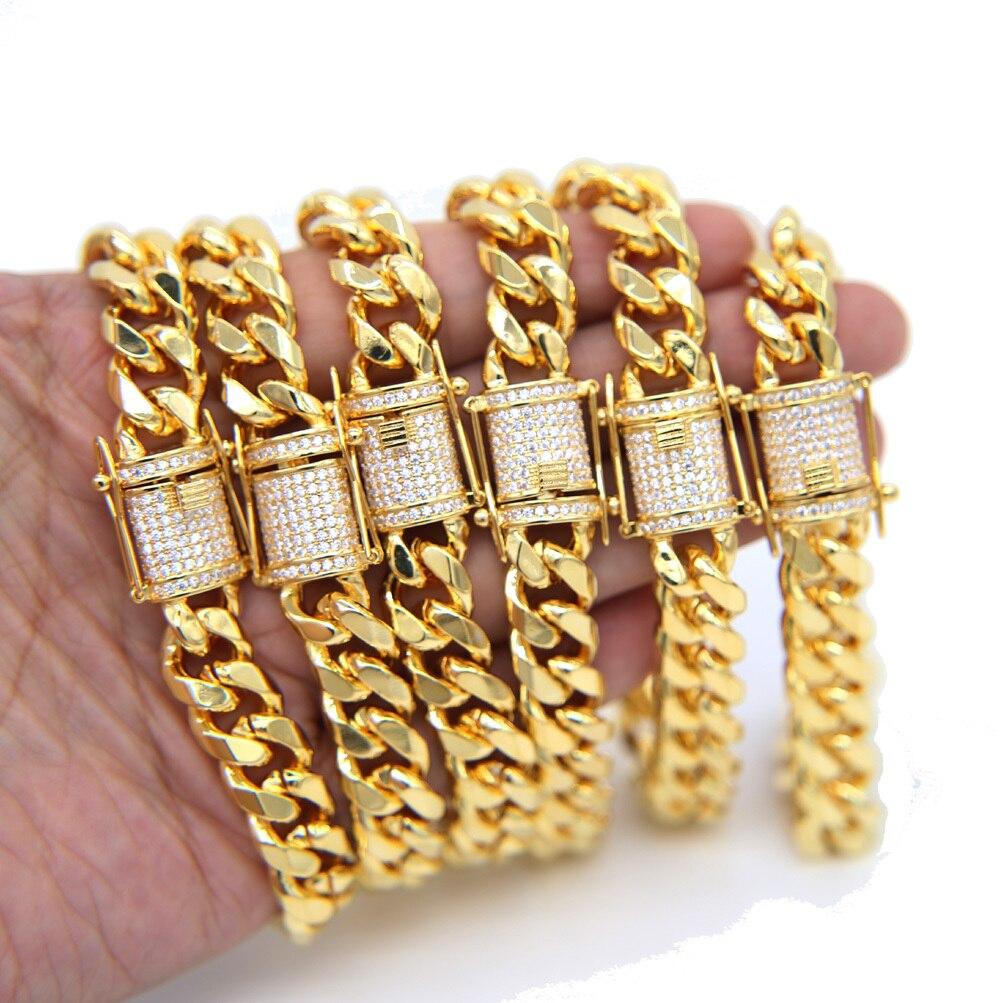 Glacé or rempli de haute qualité cz fermoir Miami cubain lien chaîne bracelet collier ensemble bijoux hip hop - 4