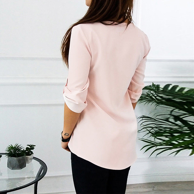 Naiveroo Women Chiffon Blouse Tops Sexy V Collar Zipper Roll Up Long Sleeves Loose Shirt Blusa Feminina Vestidos Plus Size 3XL
