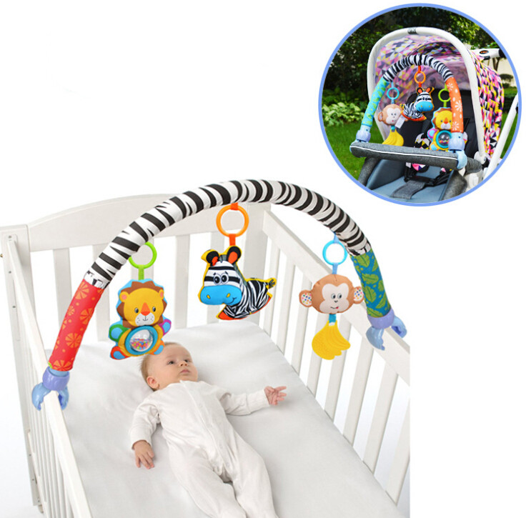 Baby Toys Crib Mobile Stroller Hanging Soft Zebra Monkey Plush Hanging Rattles Ring Bell Toy for Newborn Baby gift 20% off baby musical crib mobile bed bell baby hanging rattles rotating bracket projecting toys for 0 12 months newborn kids gift