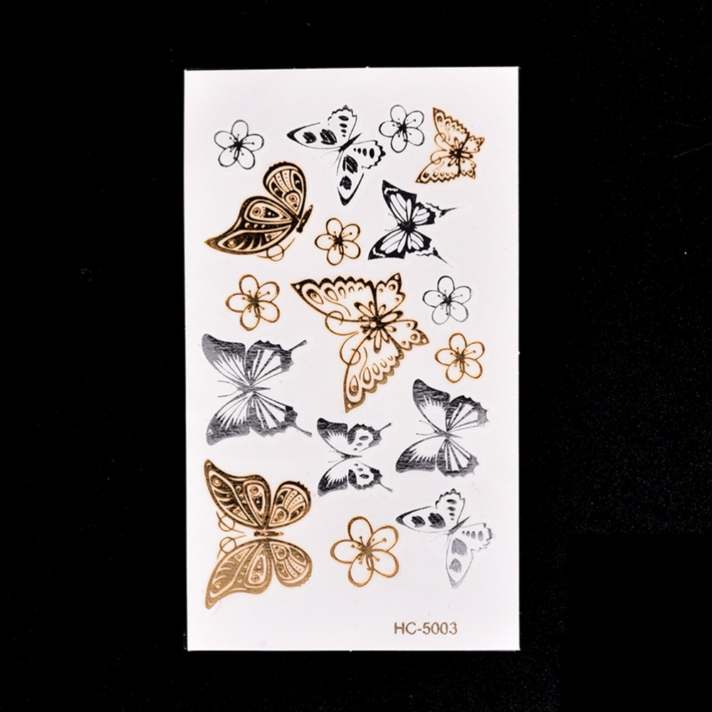 Us 037 17 Offzłoty Motyl 3d Tymczasowy Tatuaż Tatuaże Zmywalne Naklejki Body Art 116 Cm Wodoodporny Tatuaż Wystrój Domu Naklejki ścienne W