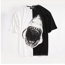 New Novelty 2017 Men Yin yang shark mouth enamel T Shirts T-Shirt Hip Hop Skateboard Street Cotton T-Shirts Tee Top kenye #C39