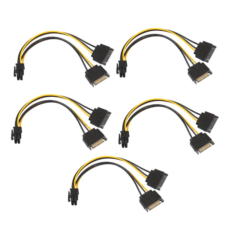 5pcs 15Pin SATA Male to 6pin PCI-E PCIe PCI Express Graphics Video Display Card dual sata to 6pin Power Cable for PC DIY dual sata 15pin to 8pin pci e power supply cable for video card 2 sata 15pin to 8 6 2 pin cord 18awg 20cm