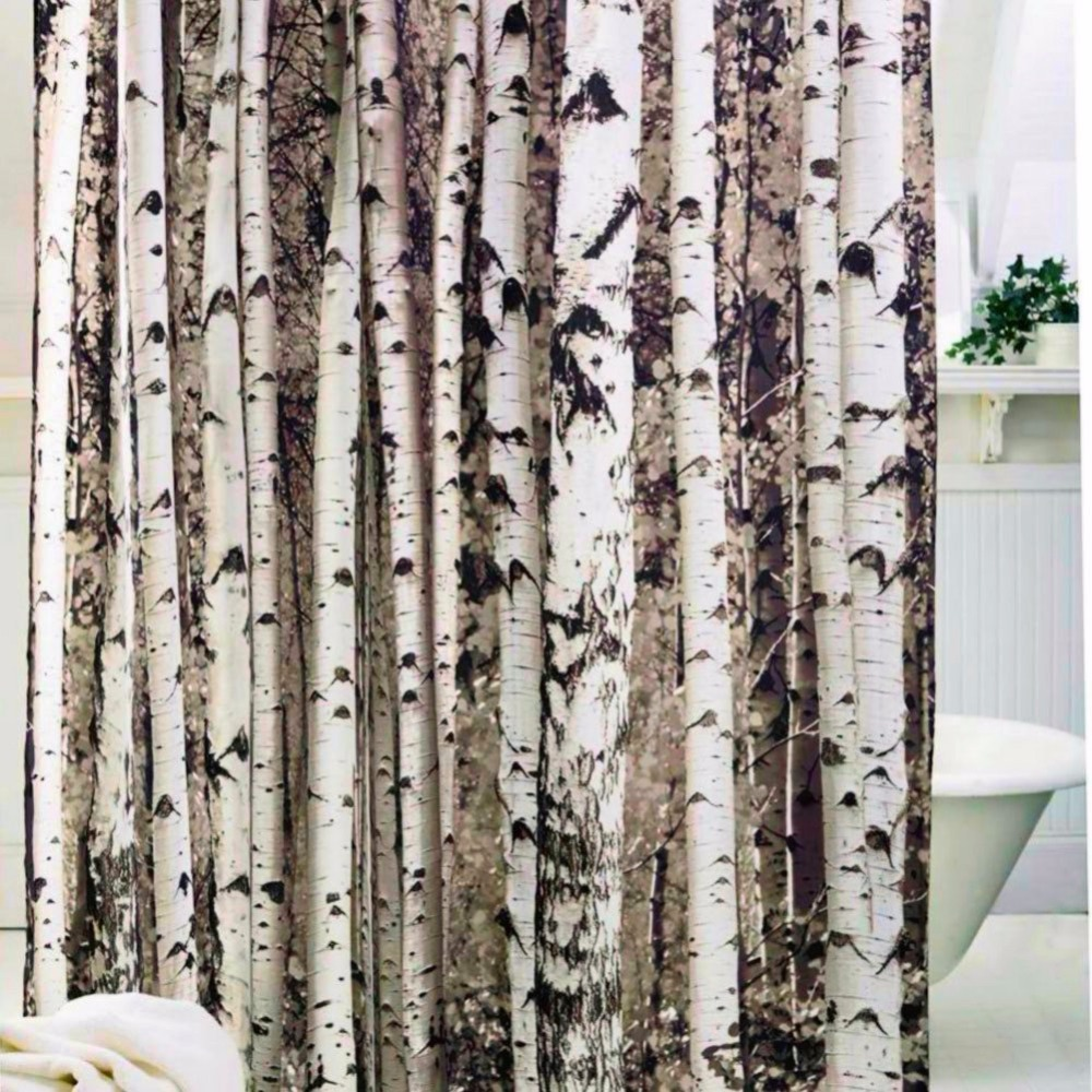 Birch tree shower curtains - Birch Tree Shower Curtain Mildew Resistant Water Repellent Antibacterial With 12 Plastic