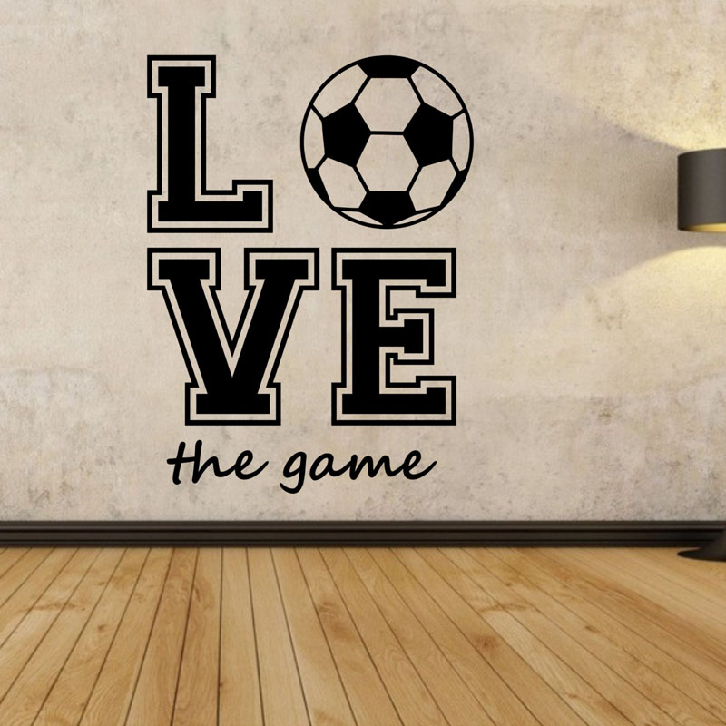 Love The Game Football Wall Decals Diy Home Decor Creative Wall Stickers Living Room Decorative Stickers
