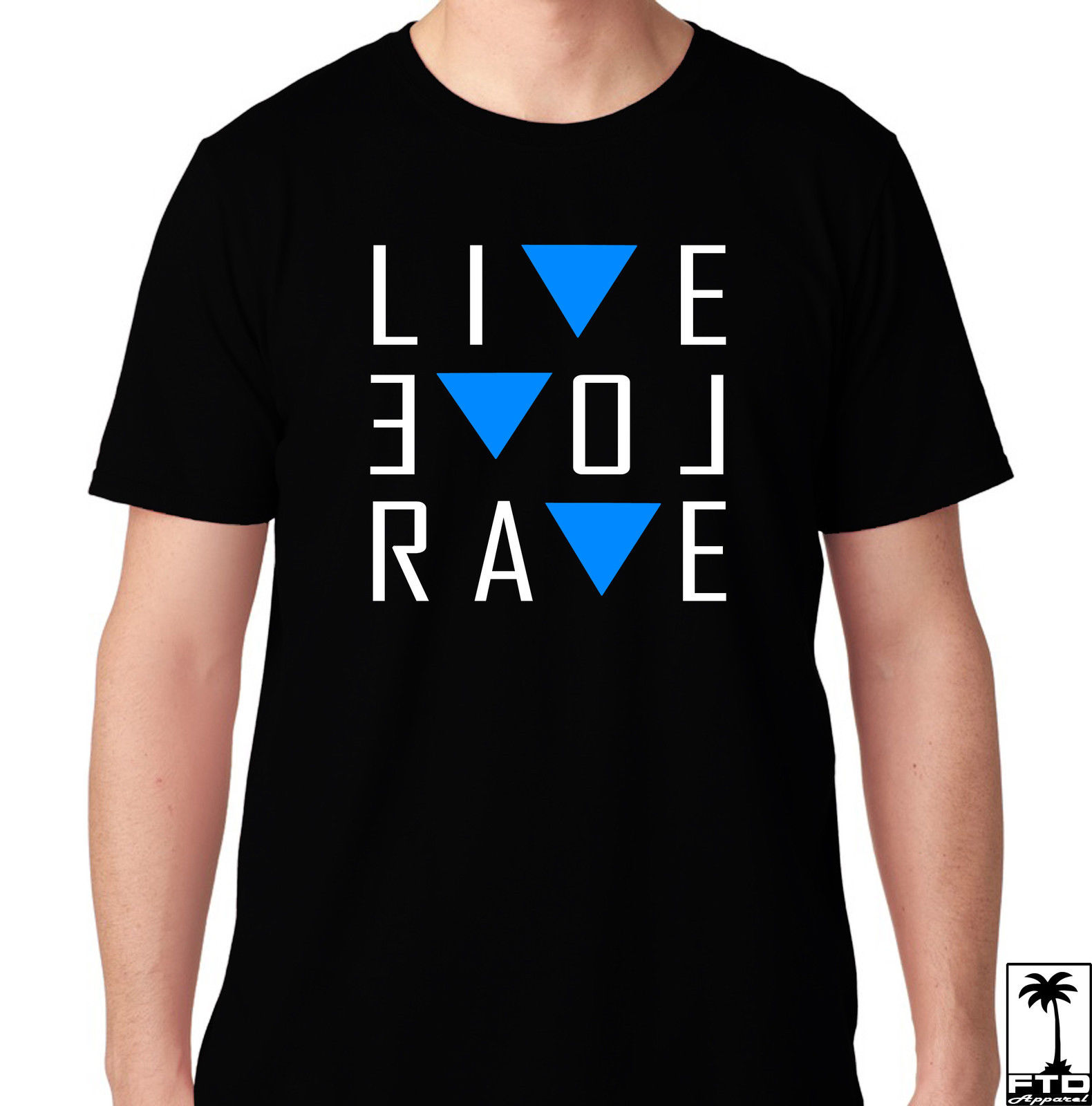 LIVE LOVE RAVE EDM MUSIC HOUSE ELECTRO DUBSTEP MUSIC DJ CLUB HARDFEST T SHIRT 100% cotton tee shirt, tops wholesale tee image