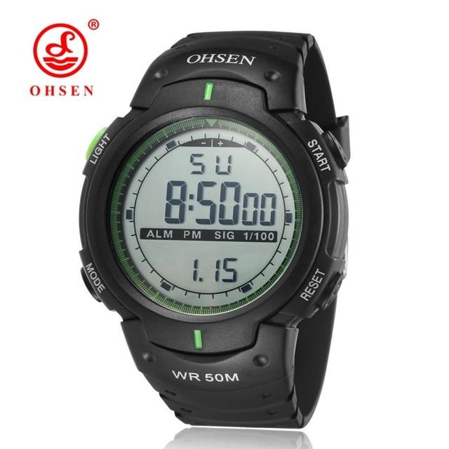 Moda OHSEN Digital Alarme Relogio Homem relógio de Pulso Pulseira De . 3a9c78b013