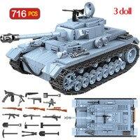 Military Technik German Tank Building Blocks Compatible WW2 Army Sets City Soldier Police Weapon Bricks Boys Toys