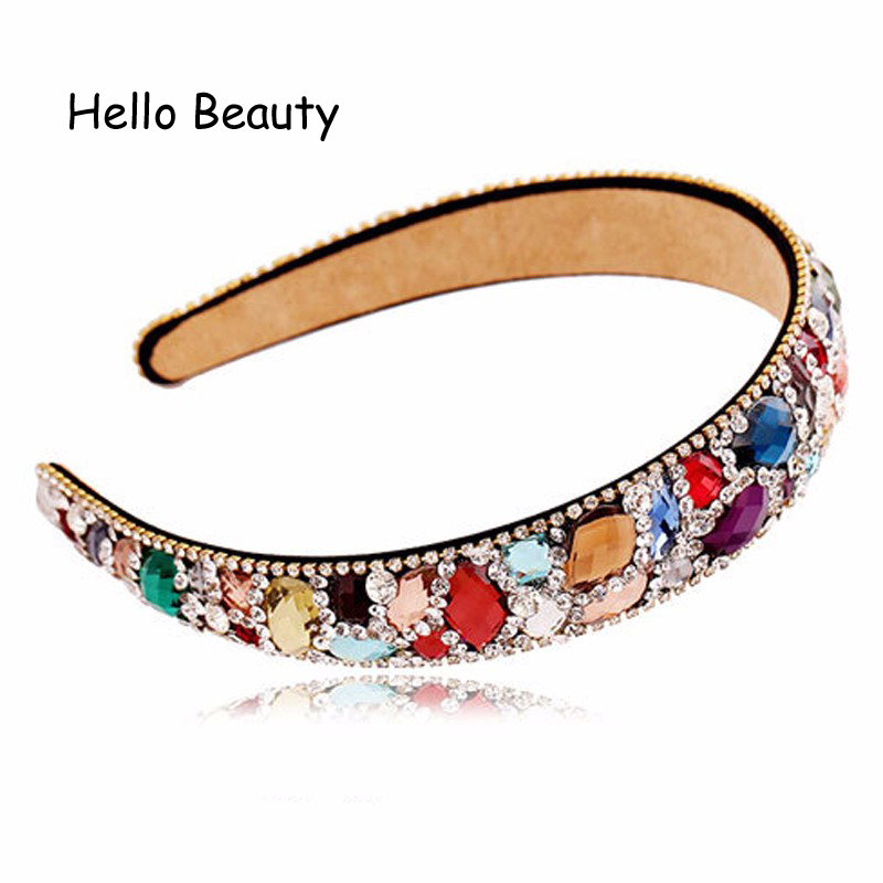 Fashion New Luxurious Korean Hair Accessories Wide Blue Crystal Diamante Hairbands Rhinestone Headbands  For Women Jewelry