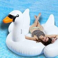 Mejor Colchón hinchable gigante de 190cm, 60 pulgadas, Swan Pool, Blanco flotante, para montar en el aire, Isla de natación, playa, diversión con agua, juguetes, Matelas