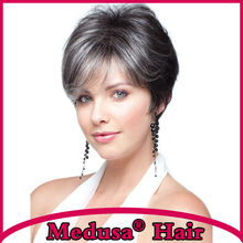 Medusa hair products: Free shipping Synthetic pastel wigs for women Short pixie cut styles Mix color wig with bangs SW0058D