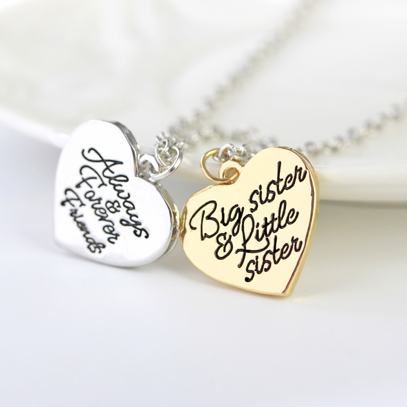 Big Sis Lil Sis Big Sister Little Sister BFF Best Friends Always Forever Friends Gold Silver Heart Necklace Sister Gift heart