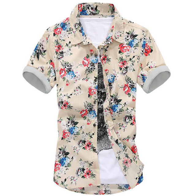 Brand New Summer Style Hawaiian Shirt Cotton Short-Sleeved Hawaiian Shirt Men Casual Beach Hawaii Shirt Free Shipping C333