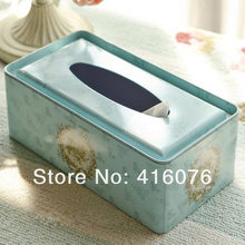 Vintage Metal Ficial Paper Case Napkin Holder Tissue Box Noble Style Fresh Light Blue Color L size Gift Home Decoration T1249(China)