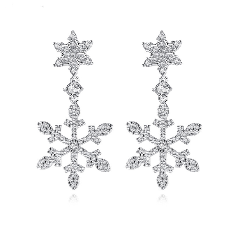 Wedding Earrings White Gold: Fashion Snowflake Shape White Gold Color Cubic Zirconia
