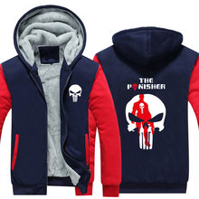 New Winter Jackets and Coats The Punisher hoodie skull Hooded Thick Zipper Men Sweatshirts