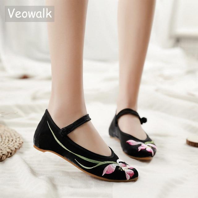 Veowalk bailarinas bordadas de franela para mujer, zapatos planos con punta bordada, de algodón, cómodos, con correa en el tobillo